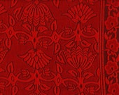 Rouge - The Reddest Red. Handblock Printed Artisan Cotton Fabric, 1 Yard (44'' W) Cut to Order