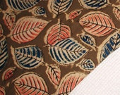 Fall leaves cotton hand block printed fabric
