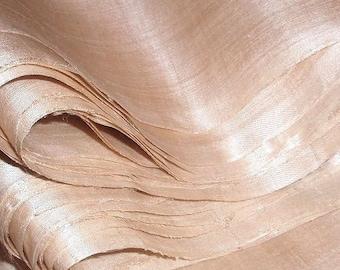 "Unbleached ahimsa peace silk. Organic silk fabric. Natural Wedding Dress Silk. Undyed silk 50g. Beige tinted cream color. 42"" Wide."