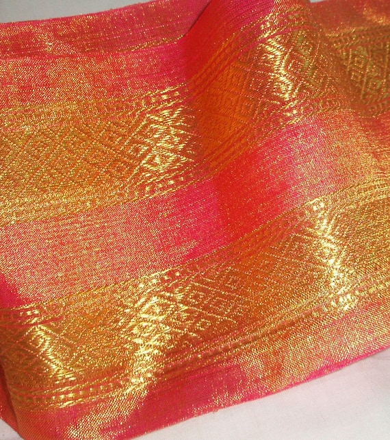 Pink Silk and Gold Brocade Trim - Handwoven by a Master Weaver using the BEST Silks and Gold Zari. Authentic Kancheevaram Silk.