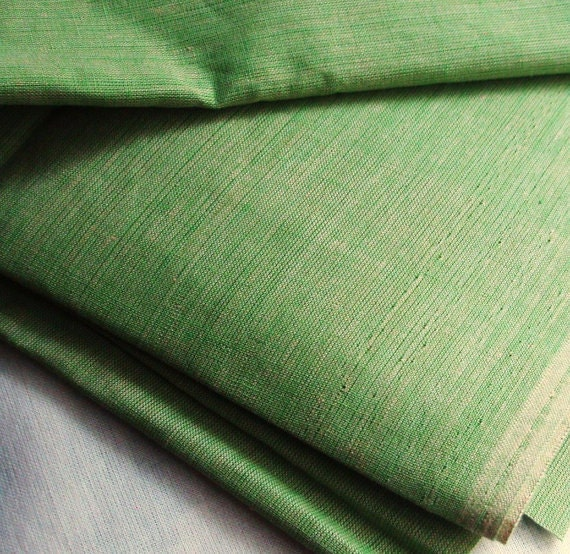 Plain Cotton Fabric. Summer green cotton fabric for dresses. 100% Cotton Fabric. Handwoven. 44 inches wide.