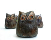 2 Brown and Copper Rustic Owls - Decoration - Home decor - Wedding - Handmade by oenopia