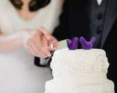 Purple Wedding Cake Topper - Bride and Groom Love Birds