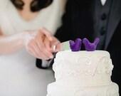 Purple Wedding Cake Topper - Bride and Groom Love Birds
