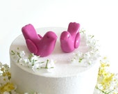 Fuchsia Pink Wedding Cake Topper - Bride and Groom Love Birds