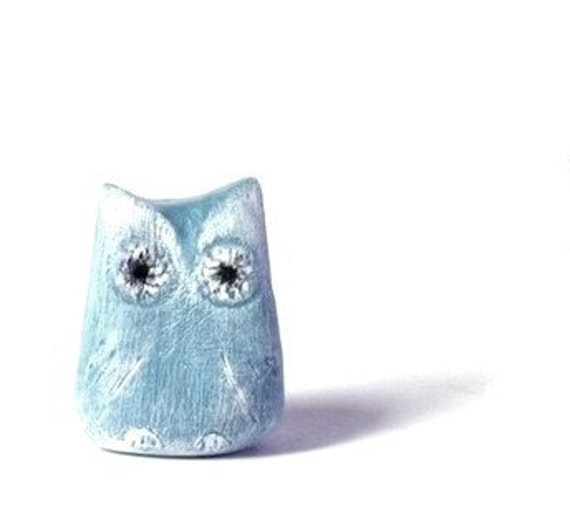 Ready to Ship - 2 Azure Blue Rustic Owls - Decoration - Home decor - Wedding - Handmade by oenopia