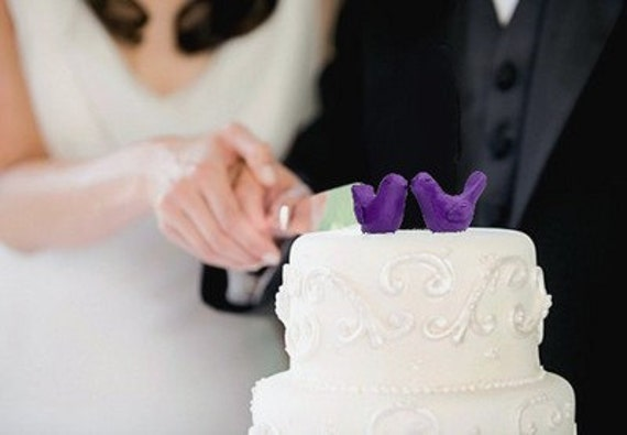 Reserved for K ---- 4 birds -----Purple Wedding Cake Topper - Bride and Groom Love Birds