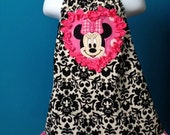 Disney Vacation Minnie Mouse Heart top custom handmade in Pink