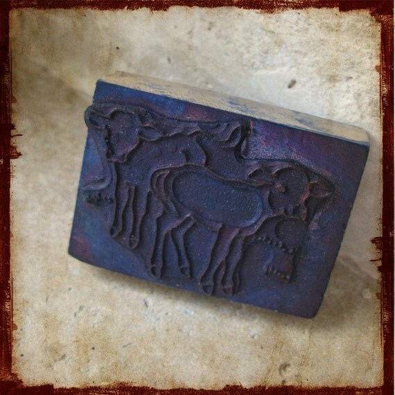 RESERVED - Vintage rubber stamp from a french school with farm baby cows