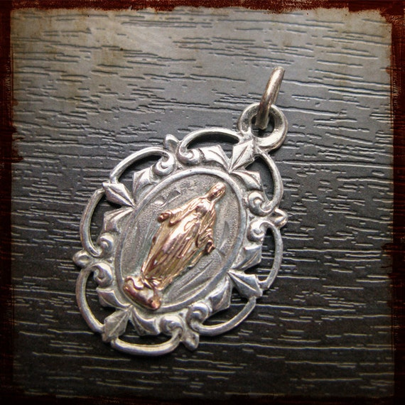 Antique French Sterling Silver copper Virgin Mary Religious Medal - Vintage Jewelry Pendant