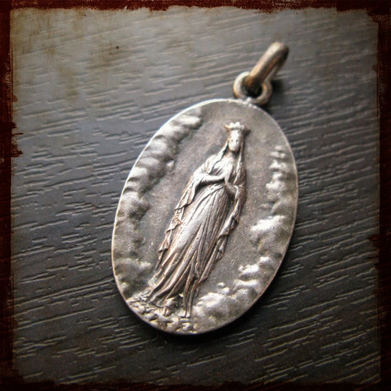 Antique Religious French Silver Medal Our Lady Virgin Mary of Lourdes - Vintage devotion pendant from France