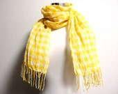 Linen gauze block check scarf  Lemon yellow and white