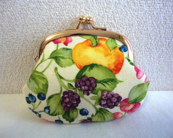 Shabby chic fruits Clutch purse Coin wallet