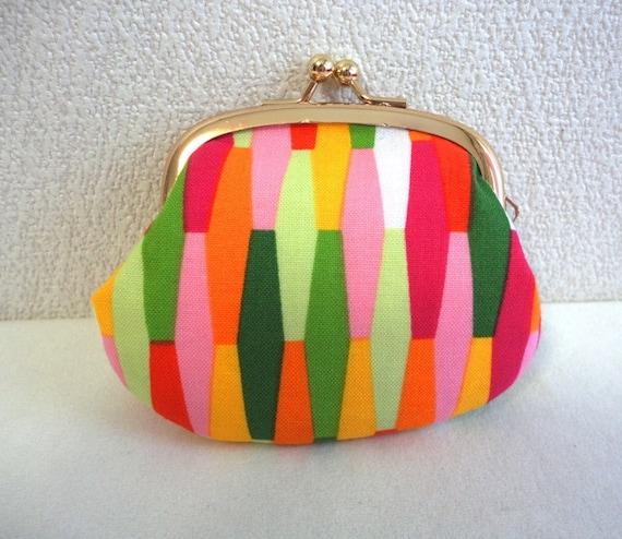 Retro geometric Clutch purse Coin wallet vitamine color