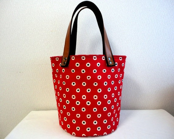 Japanese retro dots print Bag Purse red