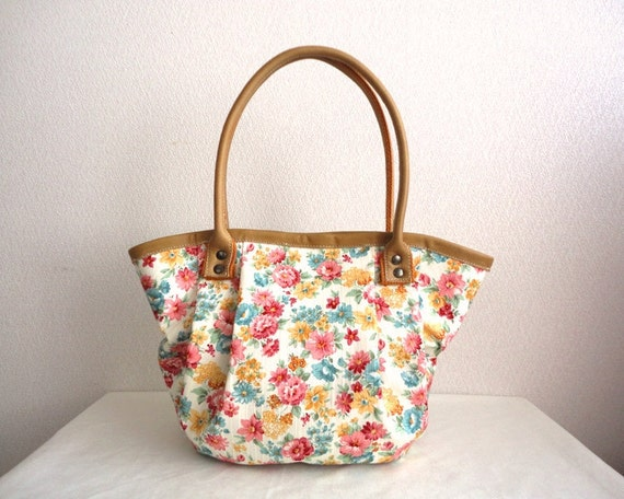 Shabby chic Real leather floral Bag Purse