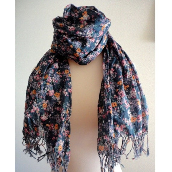 Floral cotton scarf Navy
