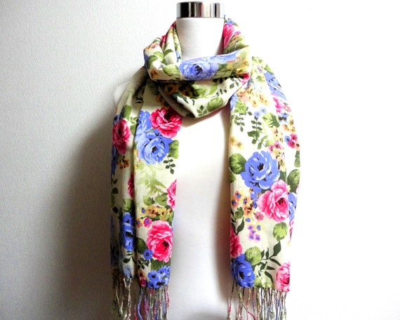 Summer Sale Gorgeous Floral scarf cotton and rayon