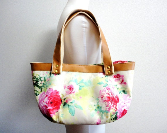 Gorgeous Elegant floral Bag Purse with Real leather handles