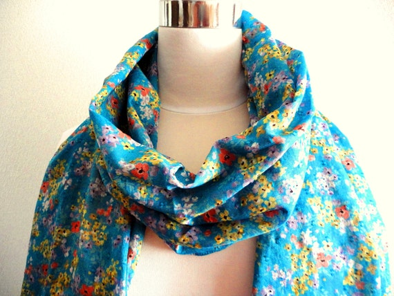 Spring Sale Turquoise blue cotton scarf in Floral