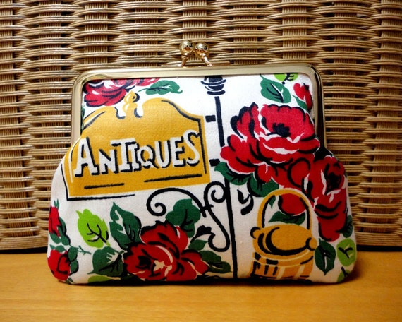 Kitsch retro floral Clutch purse bag with Vintage art fabric