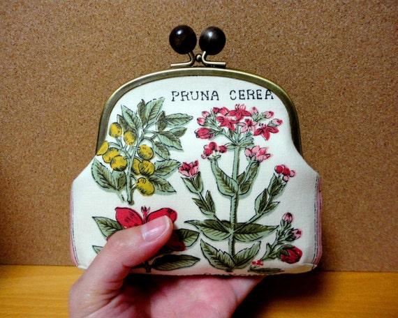 Antique floral wooden ball Clutch wallet