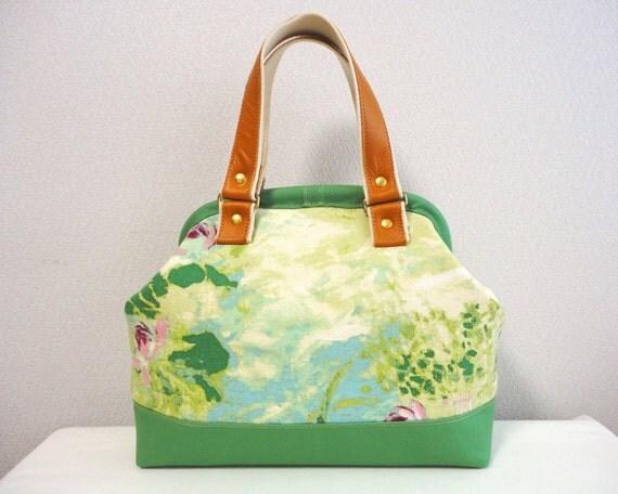Doctors bag - Abstract drawing green-Lotus flower and Lake