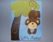"Personalized 11x14 original painting - ""Little Monkey"""