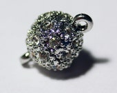 10mm Pave Magnetic Crystal Clasp Round Silver  ONE DOZEN
