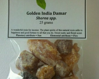 Golden India Damar Resin - Used for Incense, Magick, and spells of the sun and positive workings