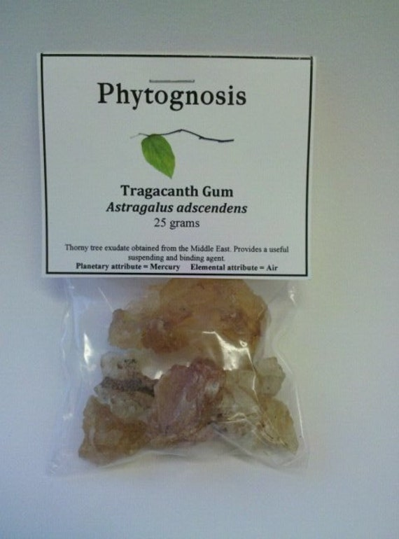 Gum Tragacanth (Astragalus adscendens) - Used to bind incense cones, sticks, and pellets.  Can also be used in cooking to thicken sauces.