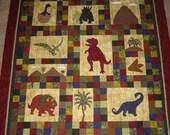 PATTERN -  Dinosaurs on Chloe Lane - Baby Quilt- Throw Quilt - Wall Art - PDF - Boys - Children