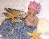 Baby MERMAID Cocoon and CROWN - ANY color - Newborn Photo Prop - Reborn Doll - Made to Order
