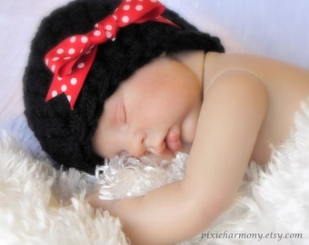 Baby Girl Hat - Photo Prop - Newborn - Black Beanie Cloche with Polka Dot Bow - Reborn Doll Hat -  MADE to Order