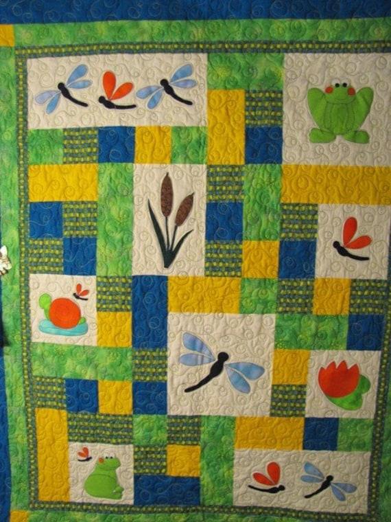 Baby Boy Quilt Patterns Set : PATTERN PDF Baby Quilt child throw quilt frog