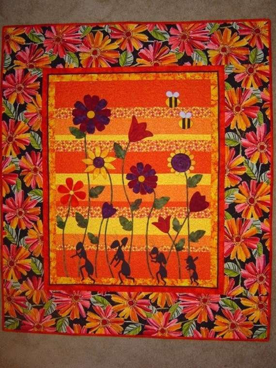 PATTERN PDF Bright Quilt Flowers and Ants- Bees - Tiptoe Thru Carmens Garden- Wall Art