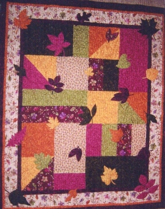 PATTERN PDF - Quilt - Wall Art - Throw - Baby Quilt - Leaves - Autumn