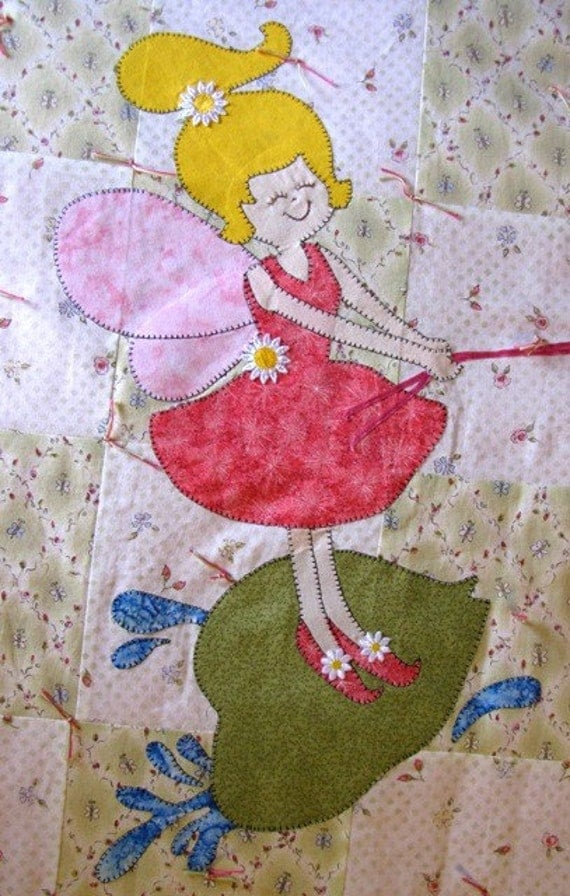 Rag Quilt Patterns For Twin Bed : Items similar to Quilt PATTERN Twin - PDF - Twin size bed quilt - Child - Girl - Fairy ...
