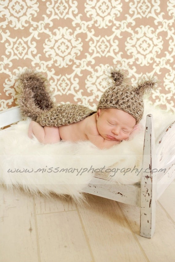 Newborn Baby SQUIRREL Hat and Cape Photo Prop - Boy - Girl - REBORN Doll - Made to order- Cocoon - Gray Brown Taupe