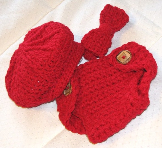 Baby BOY Hat - Newsboy Hat Bow Tie and Diaper Cover Set - PHOTO Prop - Made to ORDER - Newborn - Red