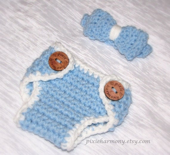 Baby Boy DIAPER Cover Set - Bow Tie - Sky or Baby Blue w White Trim - Photo Prop - Made to ORDER- ANY Color