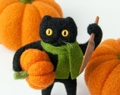 Halloween Black Cat Holding a Pumpkin