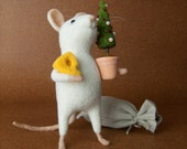 Christmas Mouse - Needle Felted Miniature