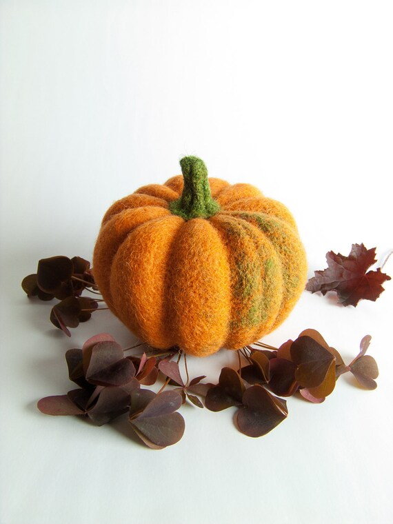 Orange Pumpkin - Needle Felted Halloween Decoration