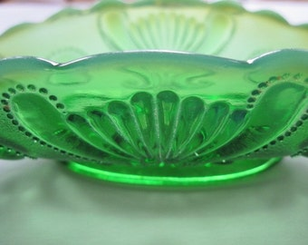 Antique glass bowl- Jewel and Fan- opalescent green