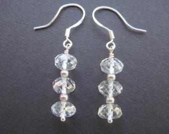 Blue topaz sterling silver earrings- November birthstone