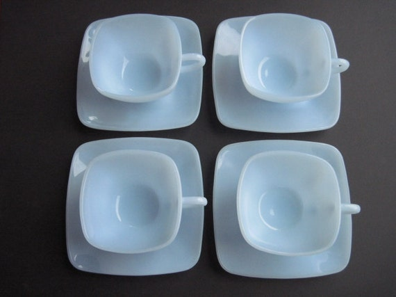 Fire King Azurite Charm cups and saucers- set of 4