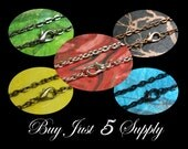 """10 Rolo Link Chains- 24"""" with Lobster Clasp- 5 Colors to Choose From- Scrabble Tiles, Glass Tiles, Fused Glass, Bottle Cap Pendants, More"""