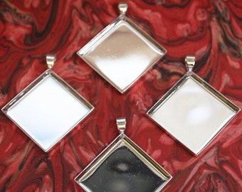 5 Diamond Shaped Shiny Silver Plated Pendant Trays - Mosaics, Glass, Beads, Digital Collage Art, Photo, or your favorite work of art...