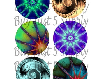 FRACTAL BURSTS and SWIRLS Collage Sheet...1 Inch Circles for your Bottle Caps, Jewelry, Glass Tiles, Pendants, Magnets, Wood Discs